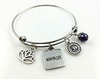 Namaste Bracelet, Yoga Jewellery, Lotus Charm, Ohm Charm, Gift for her
