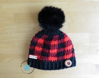 Toque CARREAUTEE. With Pompom. Baby, child, adult. Custom main.Commande fact