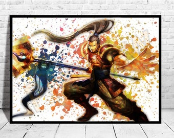 """Xin Zhao Poster Size up to 33""""x47"""" League of Legends Poster Wall Art Watercolor Decor Canvas LoL,Buy 2 Get 3rd FREE,AG444"""