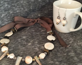 Saturday at the Beach Boho Natural Statement Necklace and Earring Set