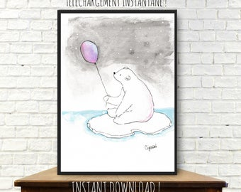 Instant download from a watercolor painting, illustration, decor, bear painting, glacier, nursery decor, polar bear watercolor, printable