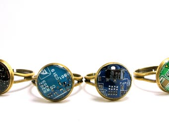 Adjustable Circuit Board Rings, computer jewelry, wearable tech, recycled jewelry, geek gift, steampunk