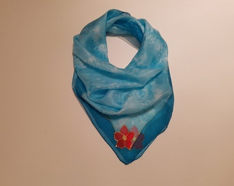 Turquoise Silk Scarf - Handpainted