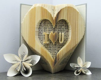 Folded book - Heart - Love - Valentine's gift - Book sculpture - Altered book - Craft