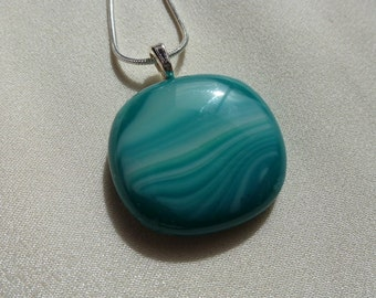 Turquoise Necklace, Vibrant colored glass, Silver plated bail, White Highlights, Fused Glass, .925 silver chain DRGS130