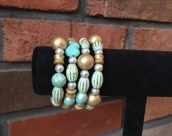 Teal and Gold Bracelet