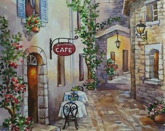 "Wall decor. Painting ""Italian courtyard"""