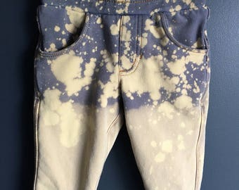 6 months size, Repurposed baby denim jeans ombre effected with bleach
