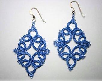 Blue Lace Earrings, Blue Earrings, Sky Blue Earrings, Lace Earrings, Tatted Earrings, Tatted Jewelry, Lace Jewelry, Beaded Earrings