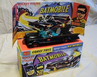 Vintage 1966 #267 Corgi Batmobile  W/Batman and Robin and Reproduction Box