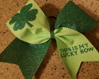 This is my lucky bow cheer bow, st Patrick's day cheer bow, green cheer bow, glitter cheer bow, st pattys day bow
