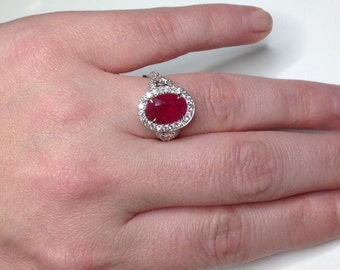 Estate Vintage GIA Certified 4.12 CTW Natural Red Ruby 18k Diamond Ring!