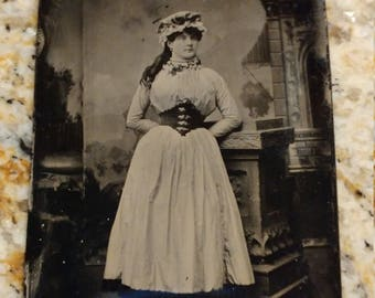Laced Bodice Beauty:  Antique Tintype Photograph of Young Woman