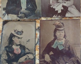 Hand-Tinted Florals:  Lot of 4 Antique Tintype Photographs of Women in Hats With Colored Flowers