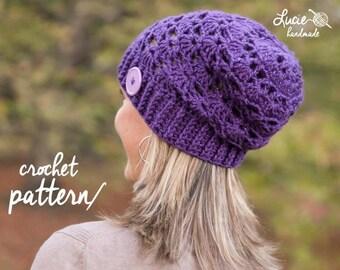 Crochet Hat PATTERN No.37 - Slouchy Women Winter Hat, Autumn Hat, Spring Hat Crochet Pattern