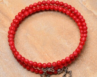 Red Sea Bamboo Coral and Alloy Bracelet  STRETCHY