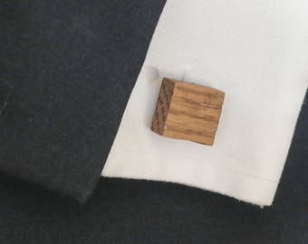Golden Oak Wooden Cufflinks, Hardwood-Grand Opening Pricing