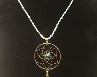 Dream catcher necklace with turquoise and quartz