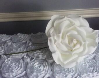 "White Foam Rose 9"" Round x2"