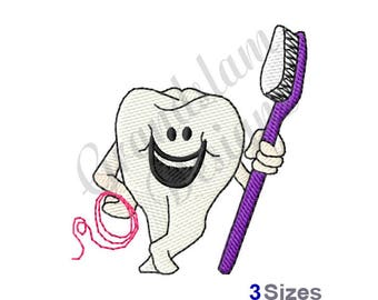 Tooth With Brush - Machine Embroidery Design