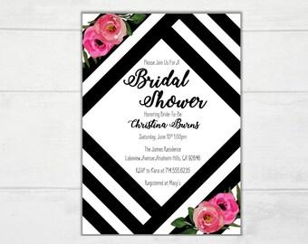 Black and White Stripe Invitation. Spade Invitation.  Stripes and Flowers Printable Bridal Shower Invitation. 1