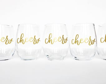 Limited Time SALE!! 5 dollars plus shipping! CHEERS // Stemless Wine Glass 15oz