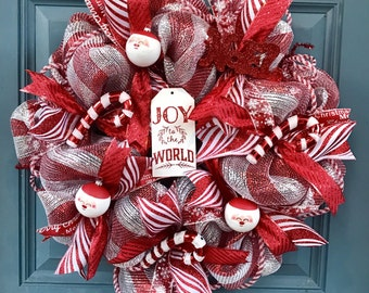 Christmas Holiday Joy to The World Deco Mesh Wreath