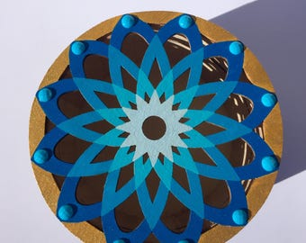 Blue Gold and Brown Hand Painted Flower Mandala Embellished Wooden Keepsake Box