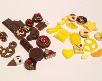 15PCs Mini Flatback Resin Crafts | Assortment of Fake Sweet Foods | Chocolate, Cakes, Cupcakes, Donuts, Tarts, Candies