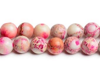 "15"" 8 mm pink cream impression jasper beads beautiful stones impression beads variscite beads 8 mm sea sediment beads sea sediment jasper"