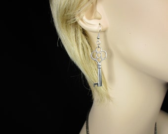 MadMartin Antique Silver Key Earrings
