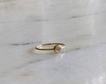 14K Yellow Gold Hand Made Diamond Ring