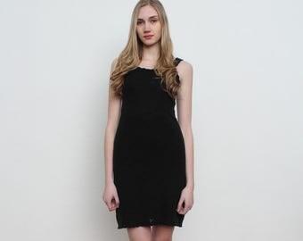 Vintage Black Knit Mini Dress/ Size 40 UK 12