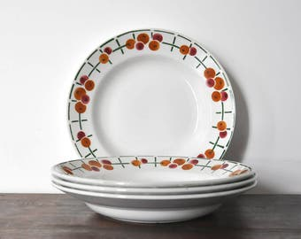 4 St-Amand soup plates, art deco pattern, antique ceramic plates, art deco pattern, bicolor cherry design