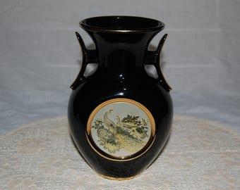 """Sale Vintage Art Of Chokin Japanese 24k Silver And Gold Gilded Peacocks Ginger Jar/Vase 8"""" high"""