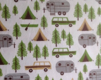 Let's go Camping pillow case,flannel,100%cotton,sleep,cozy,family,kids