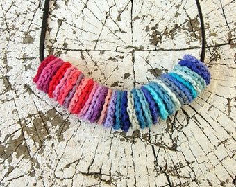 Crochet necklace Red Blue