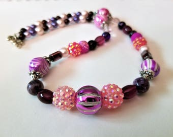 Bold Beaded Chunky Pink and Purple Necklace, Silver Toggle Clasp with Glass and Acrylic Beads, Faux Pearl Jewelry