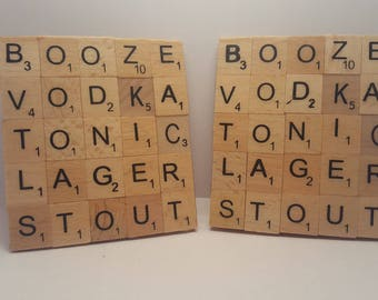 Alcohol Themed Scrabble Coasters