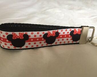 Minnie Mouse Key Fob/Wristlet. Disney, key holder, polka dots.