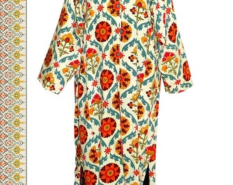 beautiful colorful traditional uzbek cotton coat robe long jacket chapan suzani design b304