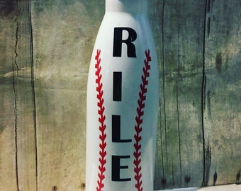White Baseball Stainless Steel Water Bottle