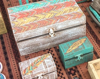 Set of Boho Keepsake Boxes