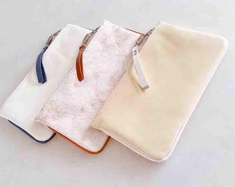 leather clutch, leather purse, pouch, white, cream, nude, ladies handbag