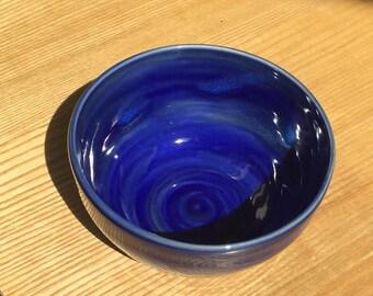 Handmade stoneware muesli bowl, soup bowl, pasta bowl, salad bowl, blue ceramic bowl