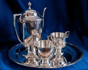 Regency Revival Silver 4pc Coffee set - Forbes Silver Co. – Art deco – Pre 1935
