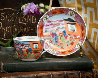 Rare New Hall (Newhall) Tea Cup & Saucer Circa 1810 Chinoiserie Pattern – Boy In Window – Pattern Number 425