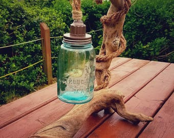 Driftwood Lamp- Antique Mason Jar- Edison Bulb -
