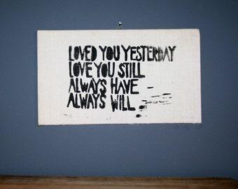 Original linocut DEMA loved you