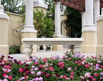 Stone Garden Bench Digital Background